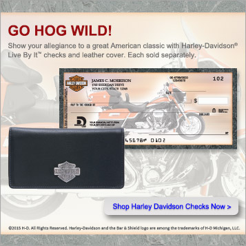 Go hog wild!  Show  your  allegiance  to  a  great  American  classic  with  Harley  Davidson  Live  By  It  checks  and  leather  cover.   Each  sold  separately.  Shop  Harley  Davidson  Checks  Now.