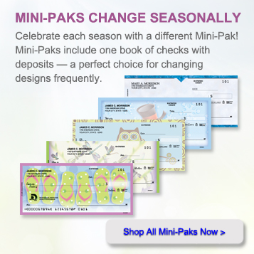 Mini Packs change seasonally.  Celebrate each season with a different mini pack!  Mini packs include one book of check with deposits.  A perfect choice for changing designs frequently.  Shop all mini packs now.