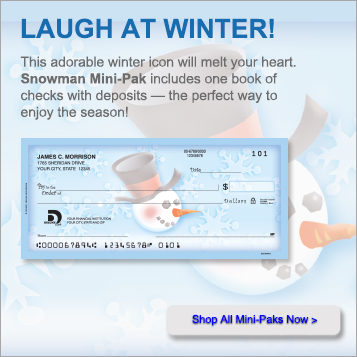 Laugh at winter! This adorable winter icon will melt your heart. Snowman Mini-Pak  includes one book of checks with deposits - the perfect way to enjoy the season! Shop All Mini-Paks Now